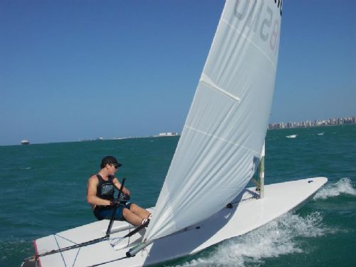 Doing about 15 knots on my hydrofoiled Moth.